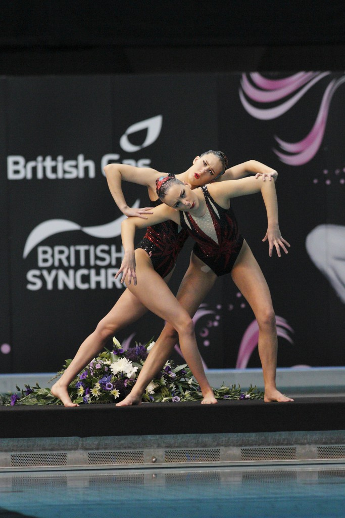 SHEFFIELD, GBR – 14 April 2013 – Katie Clark & Asha Randall compete in the Free Duet event at the British Gas Synchronised Swimming Championships 2013 held at Ponds Forge, Sheffield. (Photo by David Crawford / www.stillsport.com)